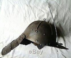 17th C. ANTIQUE ARMOUR HELMET ENGLISH CIVIL WAR ERA LOBSTER TAIL ARMOR no sword