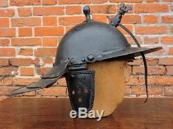 17th Century Cromwellian Style Antique Lobster Tail Helmet / Zischagge Civil War