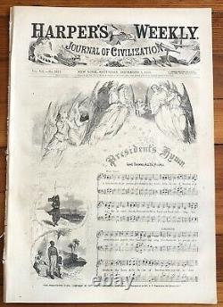 1863 CIVIL WAR newspaper LINCOLNS GETTYSBURG ADDRESS Nast Thanksgiving Poster
