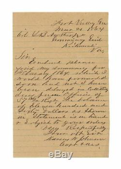 1864 Civil War Confederate Letter from Captain Marcus W. Johnson, 57th Georgia