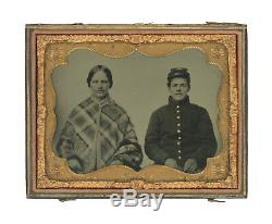 1/4 Plate Civil War Tintype of Young Union Soldier Posed with Mother