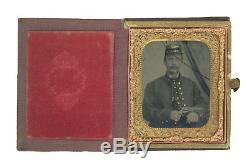 1/6 Plate Civil War Ambrotype of Yankee with Colt 1849 Pocket Revolver Case