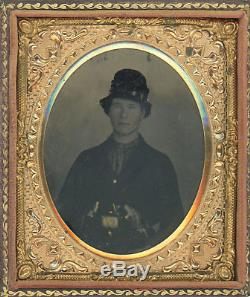 1/6 Plate Civil War Tintype Double-Armed Union Soldier with Two Allen Revolvers