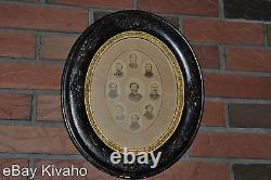 9 Civil War Photos Soldier's Colonel Oval Wood Frame & Back New England Estate