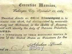 Abraham Lincoln CIVIL War Ohio Us Volunteer Discharge
