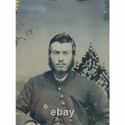 Ambrotype Plate Photograph CIVIL War Soldier With Corps Badge Very Nice Rare