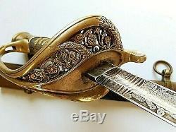 American CIVIL War M 1850 Foot Officer Sword Signed Blade W Clauberg Ca 1861