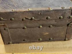 Antique 1860 CIVIL War Period Primitive Leather Covered Small Document Box