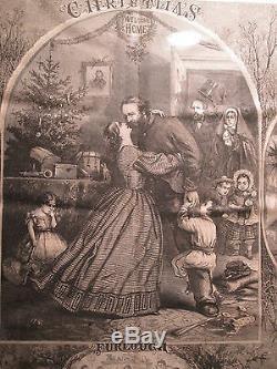 Antique 1863 CIVIL War Soldier Furlough Christmas Engraving Toy Doll Santa Claus