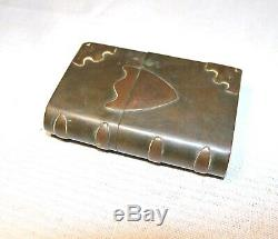 Antique 19th century brass copper civil war era trench art book shaped lighter