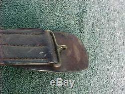 Antique Authentic Civil War Period Brass Snake Buckle & Leather Belt