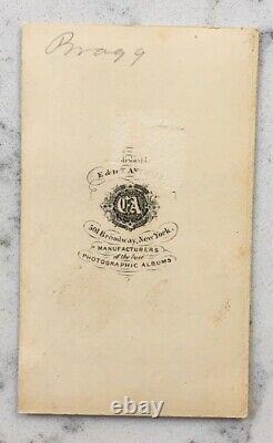 Antique CIVIL War CDV Photograph Confederate General Braxton Bragg Csa Anthony