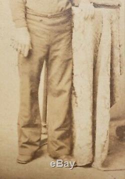 Antique CIVIL War Id'd Foley Sailor Uniform Cap Union Navy Ship Fine CDV Photo
