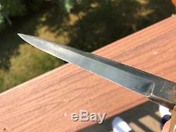 Antique CIVIL War Spearpiont Bowie Knife Manson Sheffield Etched Panel Blade