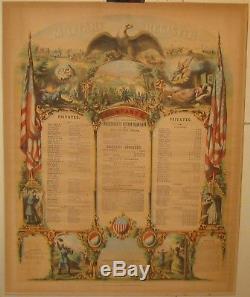 Antique COMPANY E MASSACHUSETTS VOLUNTEERS Civil War Military Register PRINT