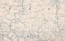 Antique CSA US Civil War Map GEORGIA ALABAMA TENNESSEE Atlanta GA Huntsville AL