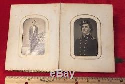 Antique Civil War CDV Photograph Book Union Generals Abraham Lincoln & Son Tad