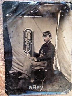 Antique Civil War Soldier Tintype w Brass Musical Coronet Instrument Photograph