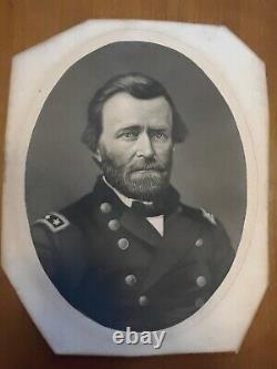 Antique General U. S. Grant Reprinted Photograph Oval Dark Wood Frame Civil War