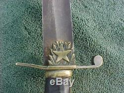 Antique Pre Civil War 1830s U. S. Officer's Sword / Saber W Blade Etchings Texas