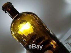 Antique U. S. A. Hospital Department Quart Bottle Olive Amber Near Mint Civil War