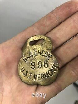 Antique U. S. S VERMONT Ship Bag Check Tag Civil War Brass 1800s Navy Naval Army