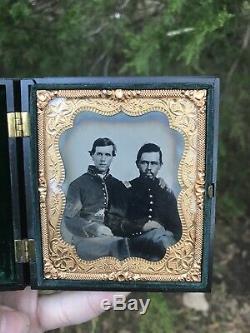 Antique daguerreotype photo Civil War Soldiers- PAIR OF UNION OFFICERS ARMED