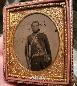 Armed Union Civil War Tintype with Canteen sixth plate image in half case