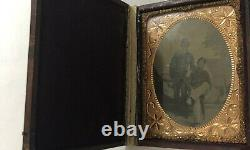 Authentic CIVIL War 1/4 Plate Tintype Photograph Of 2 Union Soldiers