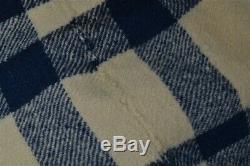 Blanket wool blue plaid hand made Civil War Era 71x79 narrow loom antique 1800