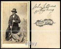 CDV Civil War Patriot & Gettysburg Hero John Burns Rare Pose & Signed