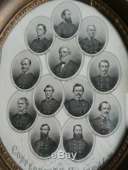 CIVIL WAR CONFEDERATE GENERALS WITH R. E. LEE AND JACKSON ENGRAVING 1860's