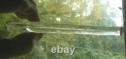 CIVIL WAR ERA 6 1/2FLINT GLASS LACHRYMATORY TEAR CATCHER VIAL CUT Xs CRUDE LIP