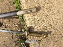 CIVIL WAR NCO SWORD & Sheath Union Army Sergeants Sword Nice Cond