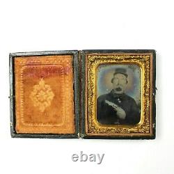 CIVIL War 9th Plate Ambrotype Ruby Red Photogragh Confederate Man Pistol Csa