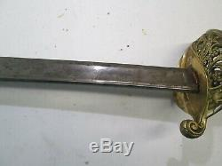 CIVIL War Import Early France French Officers Sword Wit No Scabbard Marked #l228