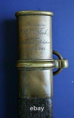 CIVIL War M 1850 Foot Officer Presentation Tiffany Sword To Lieut Flock 162nd