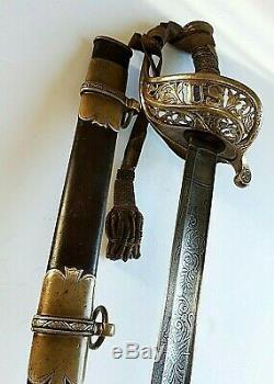 CIVIL War M 1850 Staff & Field Presentation Sword ILL Lieutenant Alfred Darnell