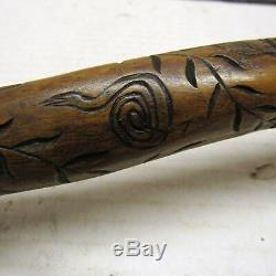 CIVIL War Navy New Jersey Blue Folk Art Carved Cane Walking Stick 1862 Raj