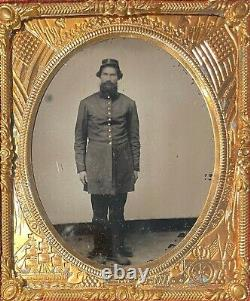 CIVIL War Union Soldier Patriotic Union Brass Matted 1/6 Plate Ruby Ambrotype