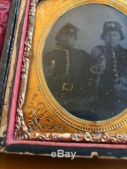 Cavalry Double Armed 6th Plate CIVIL War Union Soldier Tintype Sword Colt Pistol