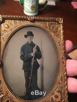 Civil War 1/4 Plate Tintype of Union Corporal with Rifle from Arkansas