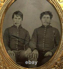 Civil War 1/6 Plate Tintype Pair of Young Soldiers Cigar, Hand on the Other Knee