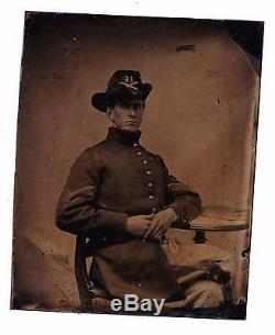 Civil War 1/6 Plate Tintype Union Artillery Sargent 16th Battery Hardee Hat