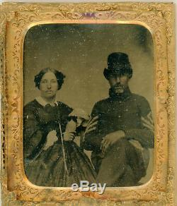 Civil War 1/6 plate Tintype, Older First Sergeant with female