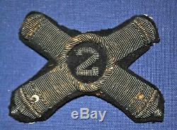 Civil War 2nd Artillery Officer's Bullion Forage Cap Insignia