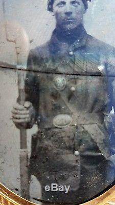 Civil War Ambrotype Maine Volunteer Union Soldier with Musket Rifle & Uniform