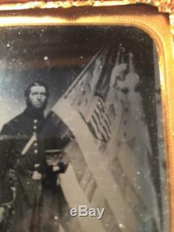 Civil War Ambrotype Nathan Gillette & Flag 1st Light Artillery Connecticut