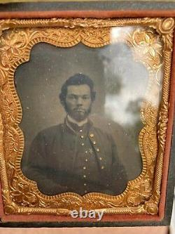 Civil War Artillery Soldier Officer 12 Corp Star Badge Tintype Military Relic