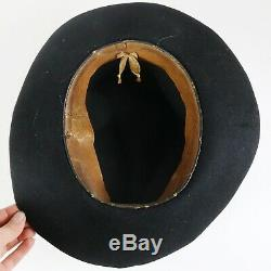 Civil War Black Felt Slouch Hat with Cord GAR #9 Emblem, Soldier Attributed
